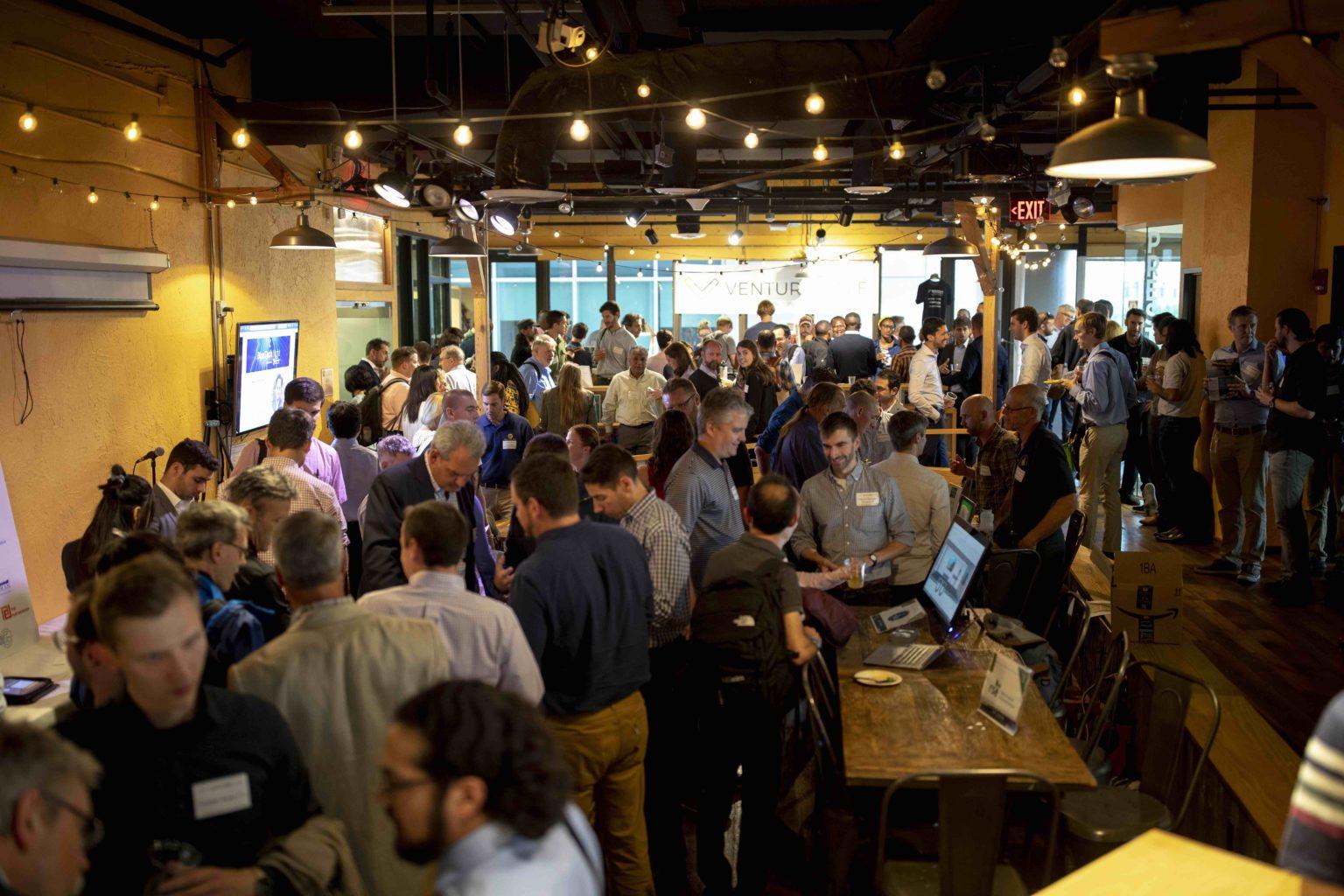 Crowded Venture Café space